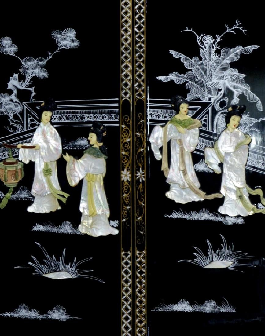 4pc CHINESE BLACK LACQUER MOTHER OF PEARL PLAQUES - 5
