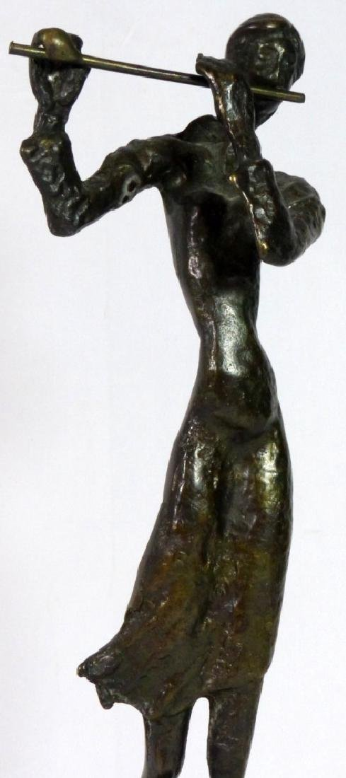 BRONZE SCULPTURE OF FEMALE PLAYING FLUTE - 2