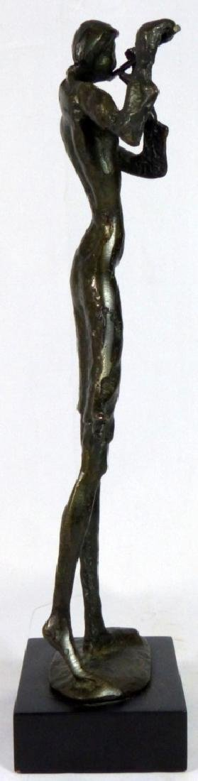 BRONZE SCULPTURE OF FEMALE PLAYING FLUTE - 3