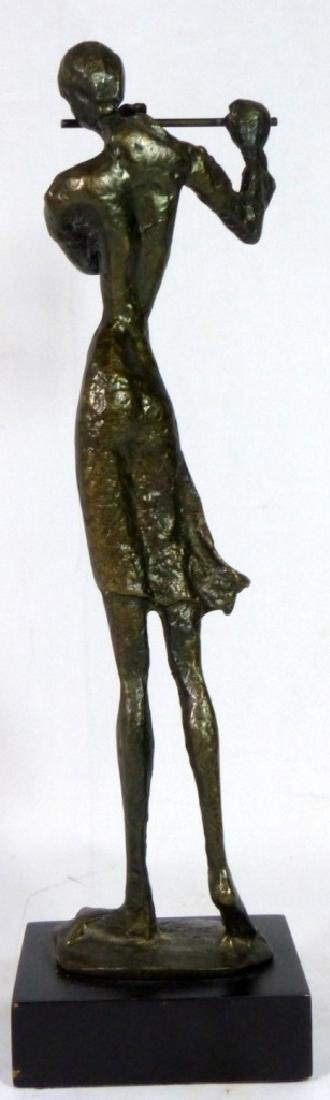 BRONZE SCULPTURE OF FEMALE PLAYING FLUTE - 4