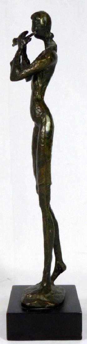 BRONZE SCULPTURE OF FEMALE PLAYING FLUTE - 5