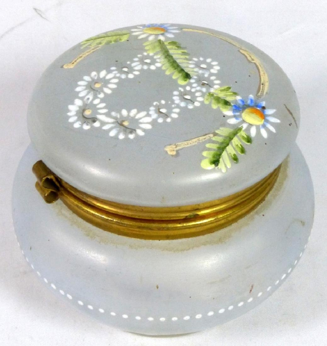 FRENCH HAND PAINTED GLASS DRESSER BOX