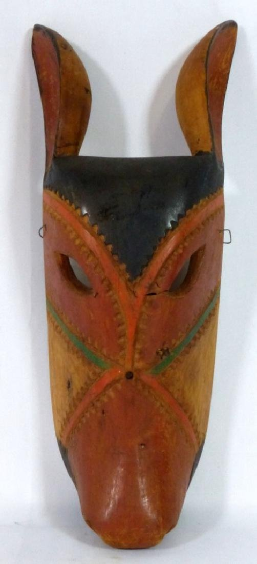 TRIBAL CARVED & PAINTED WOODEN PIG-FORM MASK