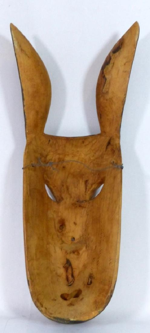 TRIBAL CARVED & PAINTED WOODEN PIG-FORM MASK - 2