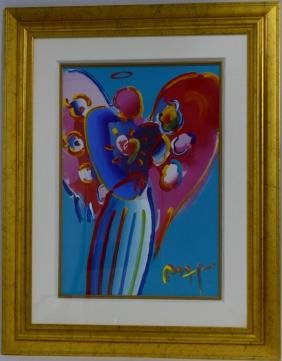 PETER MAX 'ANGEL WITH HEART' MIXED MEDIA PAINTING