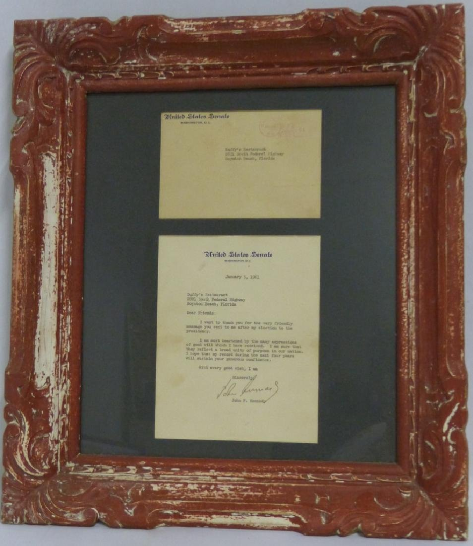JOHN F KENNEDY SIGNED LETTER TO DUFFY'S 1961
