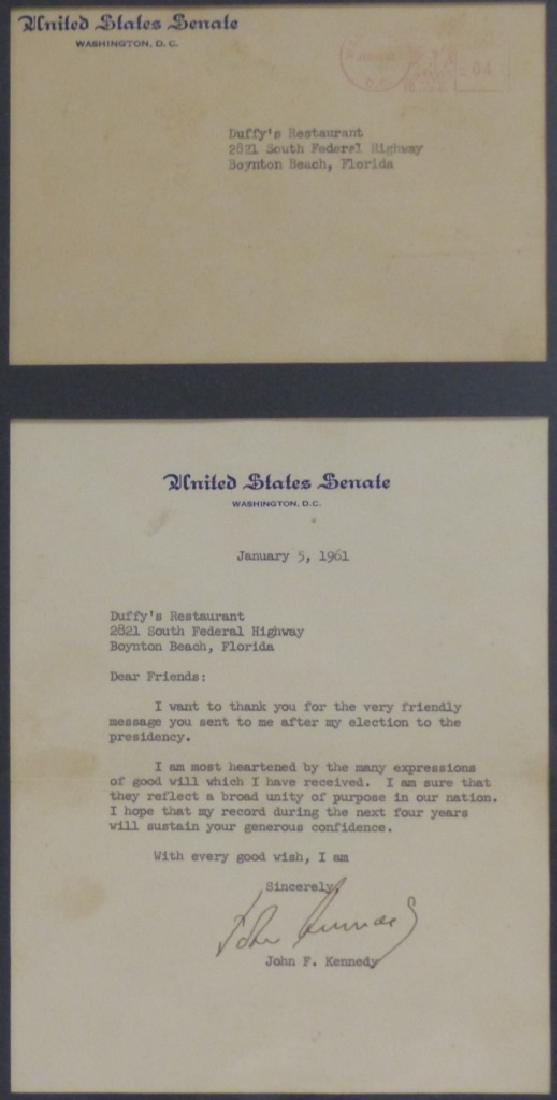JOHN F KENNEDY SIGNED LETTER TO DUFFY'S 1961 - 2
