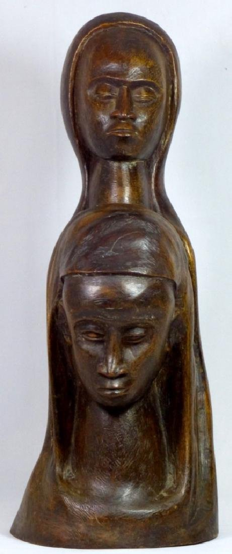 MID CENTURY WOOD CARVING OF TWO FEMALE FIGURES