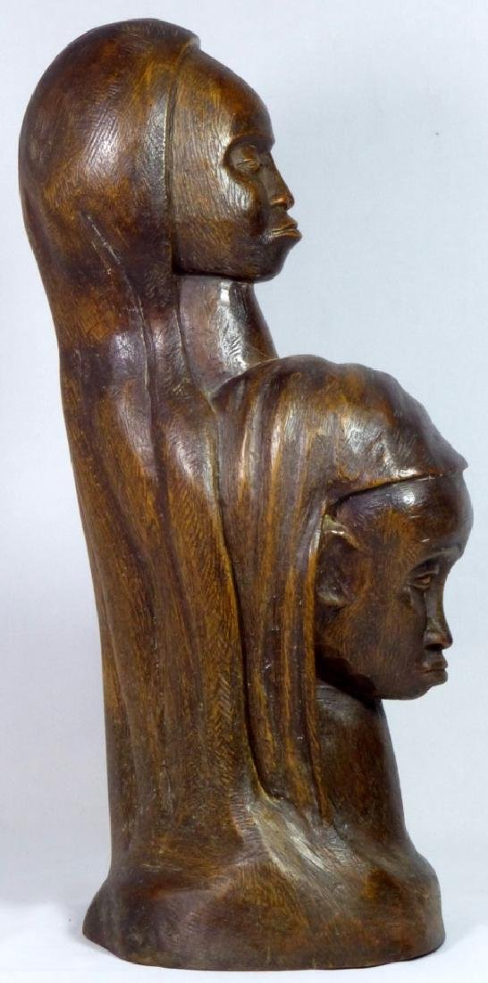 MID CENTURY WOOD CARVING OF TWO FEMALE FIGURES - 2