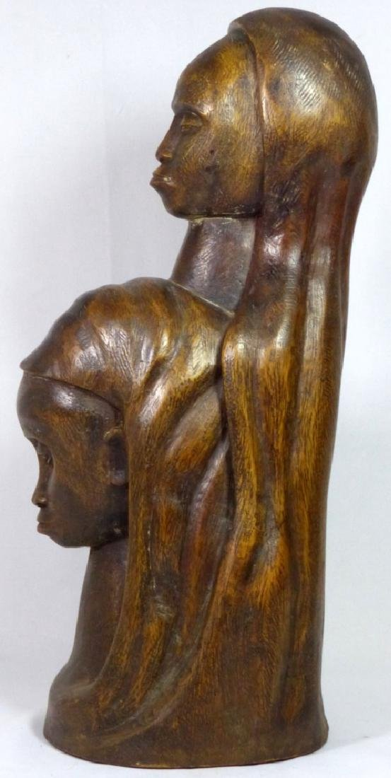 MID CENTURY WOOD CARVING OF TWO FEMALE FIGURES - 4