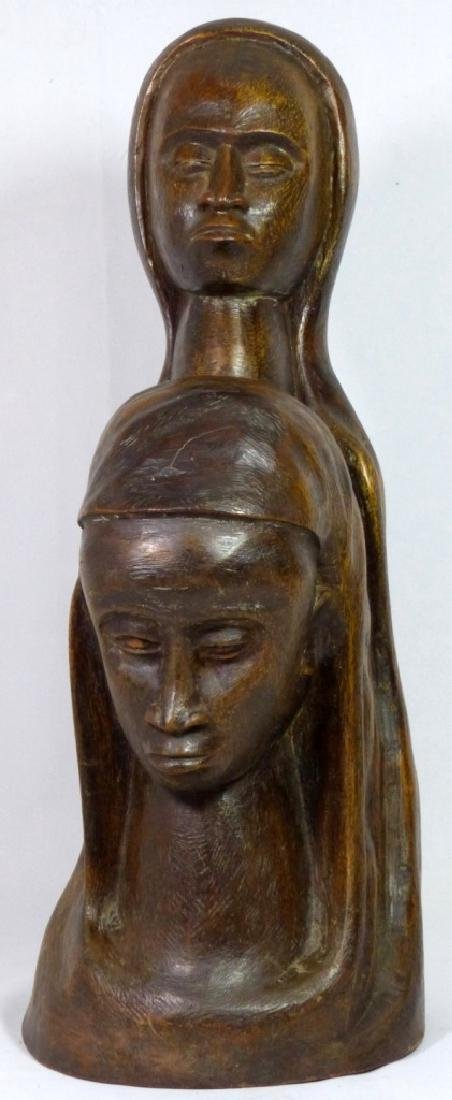 MID CENTURY WOOD CARVING OF TWO FEMALE FIGURES - 5