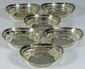 6pc WATSON STERLING SILVER RETICULATED NUT BASKETS