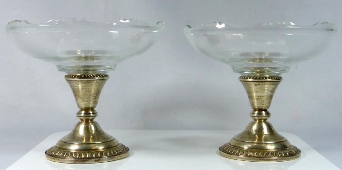PR FRANK WHITING STERLING SILVER & GLASS COMPOTES