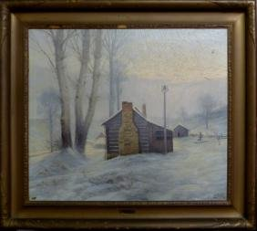 OLDRICH OTTO FARSKY OIL ON CANVAS SNOWY LANDSCAPE