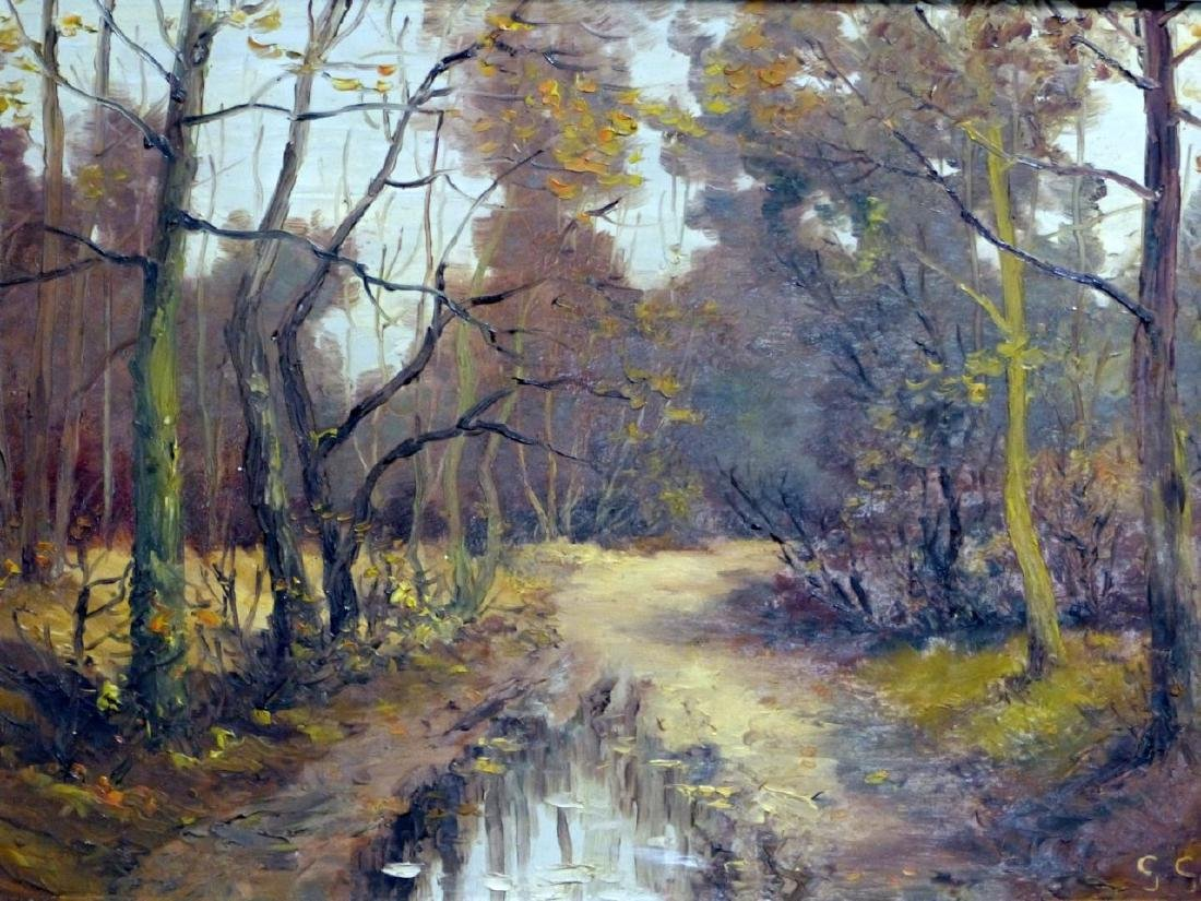 GABRIEL GUERIN OIL PAINTING ON BOARD OF LANDSCAPE - 2