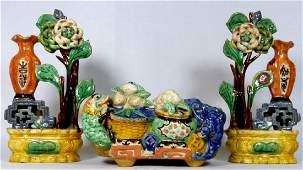 3pc CHINESE GLAZED MUD POTTERY SET