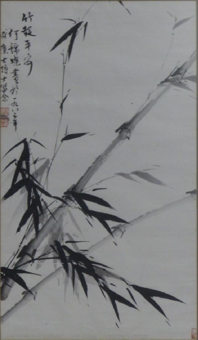 JAPANESE BAMBOO PAINTING ON PAPER SIGNED - 2