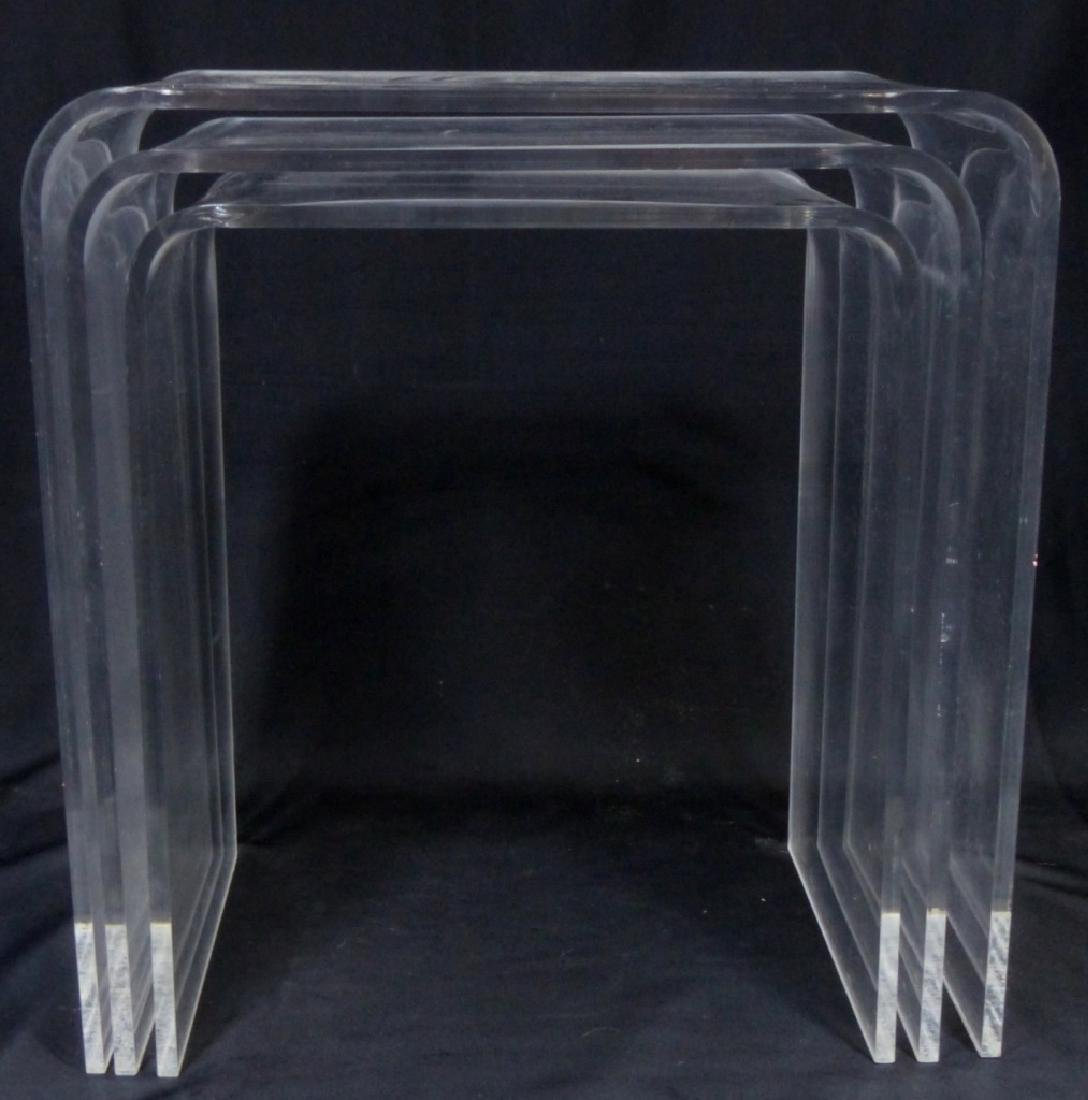 3pc LUCITE STACKING TABLES - 4
