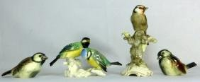 4pc PORCELAIN BIRD FIGURINES HUTSCHENREUTHER ENS