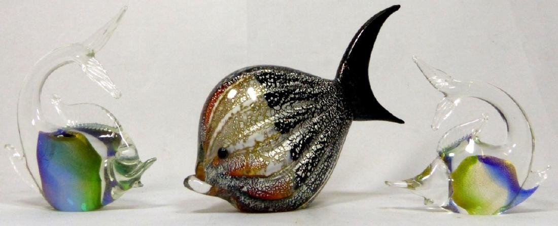 3pc MURANO STYLE ART GLASS FISH