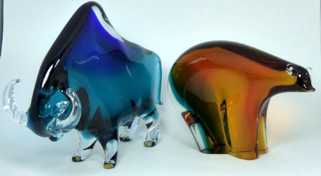 PR NASON MURANO BULL & BEAR GLASS SCULPTURES