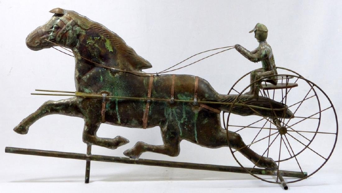 COPPER HORSE & SULKY WEATHERVANE
