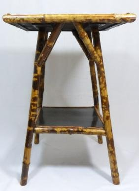 BAMBOO SQUARE SIDE TABLE w DRAGON