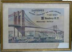 CURRIER  IVES LITHOGRAPH BROOKLYN BRIDGE