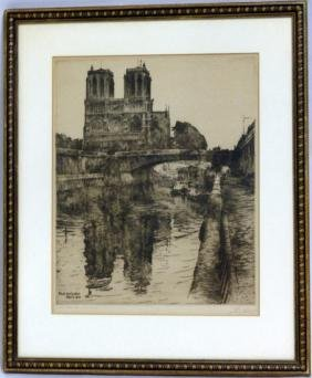 PAUL GEISSLER 'NOTRE DAME' ETCHING 1910 SIGNED