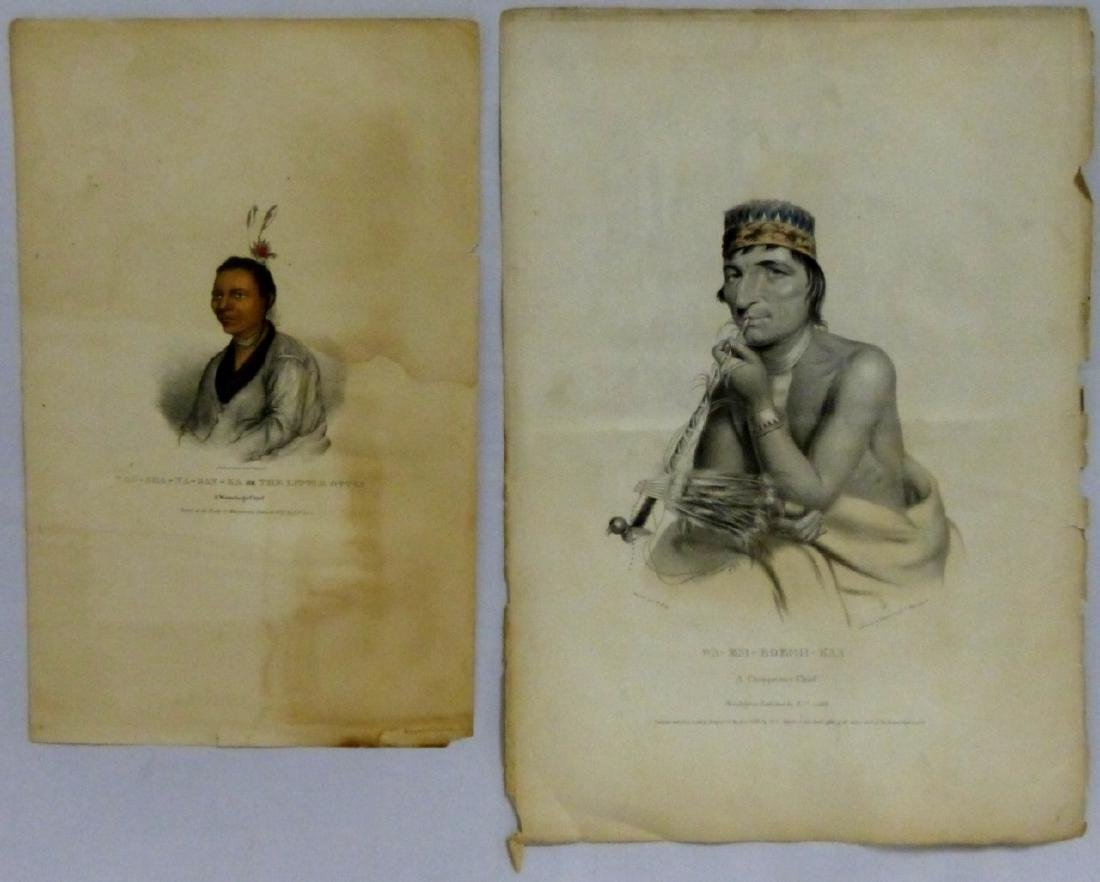 2pc NATIVE AMERICAN HAND COLORED LITHOGRAPHS