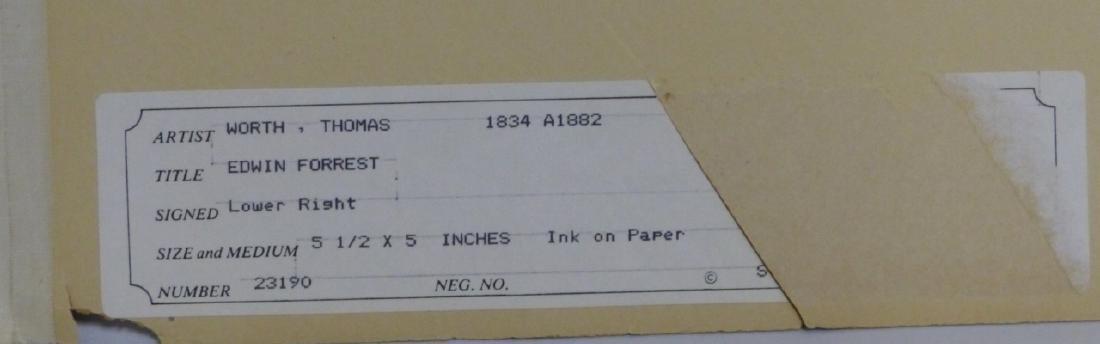 THOMAS WORTH 'EDWIN FORREST' INK PORTRAIT ON PAPER - 3