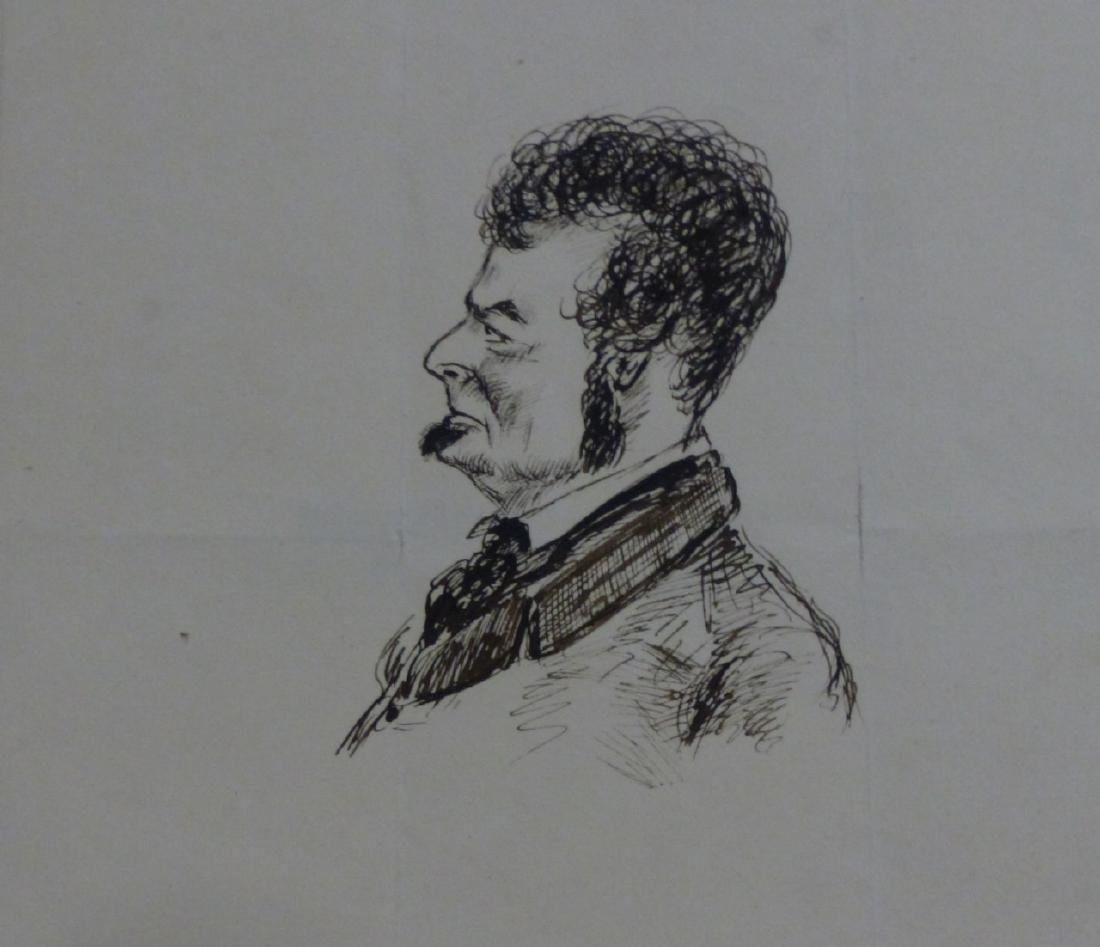 THOMAS WORTH 'EDWIN FORREST' INK PORTRAIT ON PAPER - 5