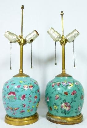PR CHINESE TEAL GLAZED PORCELAIN LAMPS