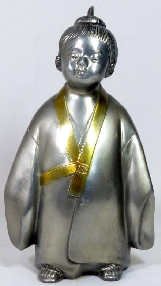 JAPANESE SIGNED METAL SCULPTURE OF CHILD