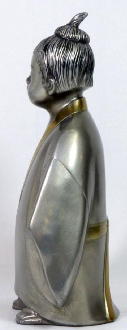 JAPANESE SIGNED METAL SCULPTURE OF CHILD - 3