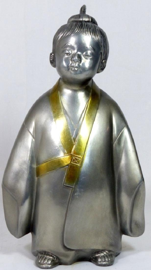 JAPANESE SIGNED METAL SCULPTURE OF CHILD - 6