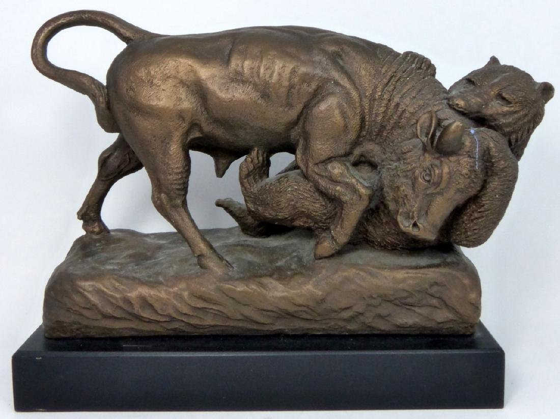 BRONZED 'BULL FIGHTING THE BEAR' SCULPTURE