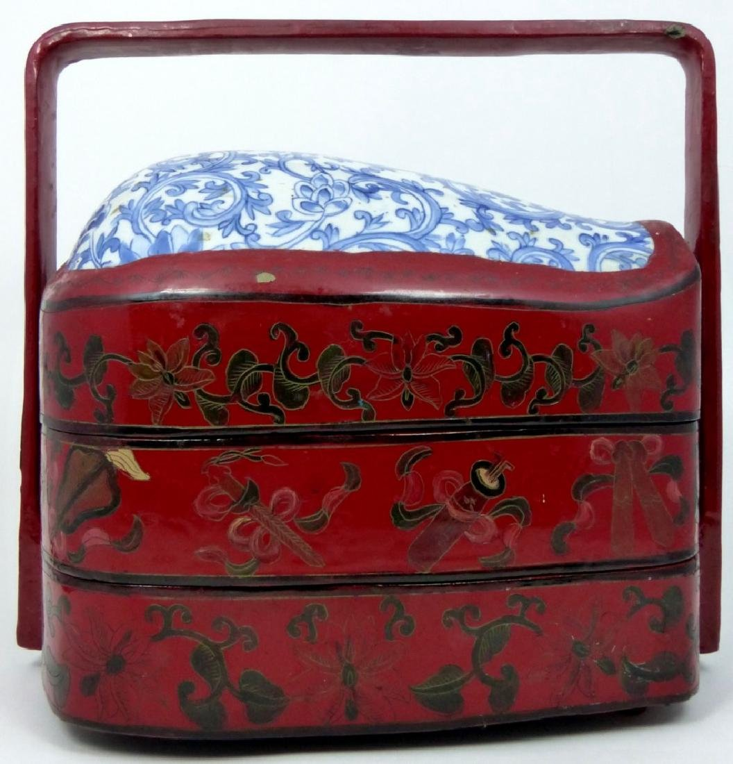 CHINESE RED LACQUER STACKING BOX w PORCELAIN PANEL