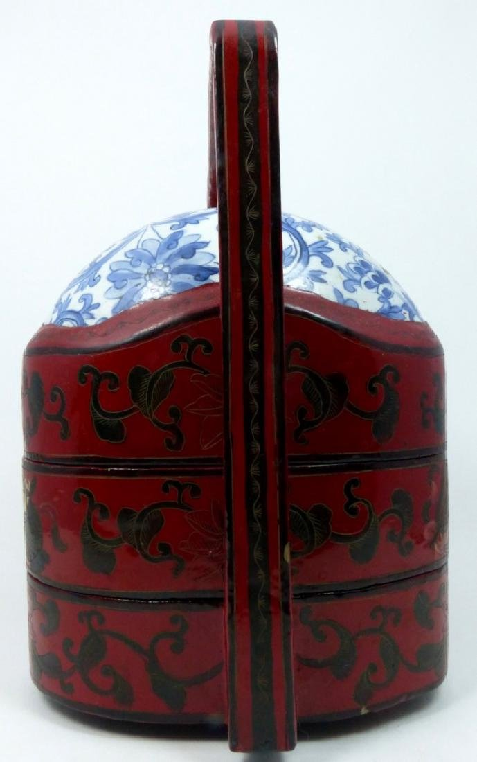 CHINESE RED LACQUER STACKING BOX w PORCELAIN PANEL - 2
