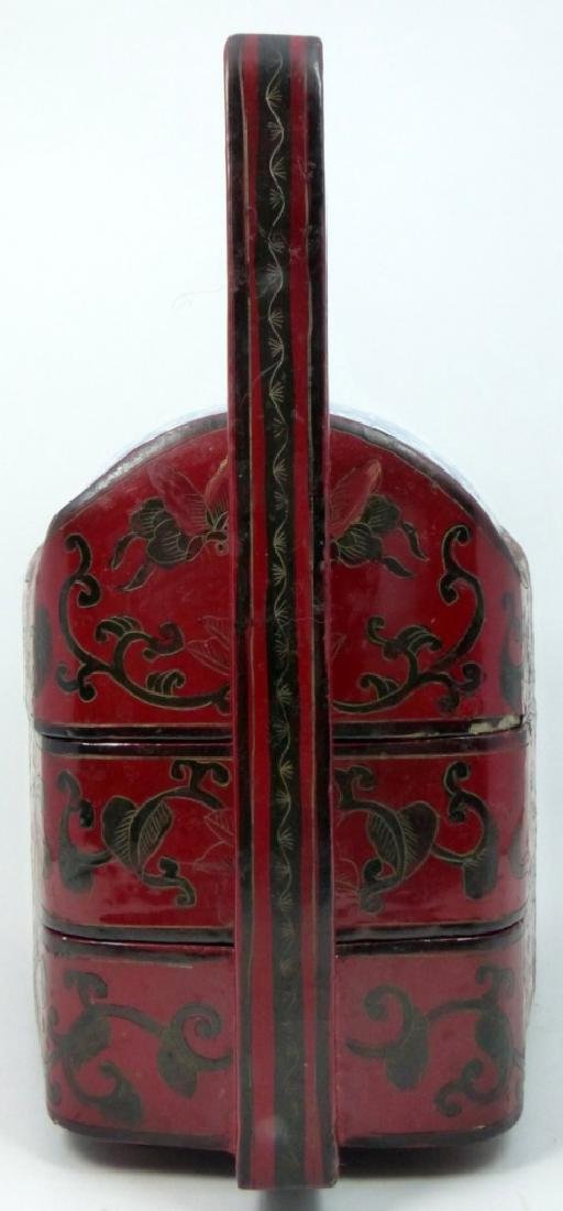 CHINESE RED LACQUER STACKING BOX w PORCELAIN PANEL - 3