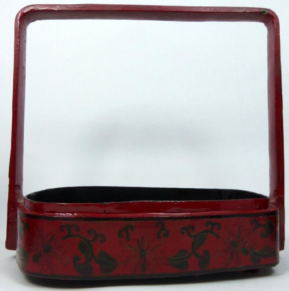 CHINESE RED LACQUER STACKING BOX w PORCELAIN PANEL - 4