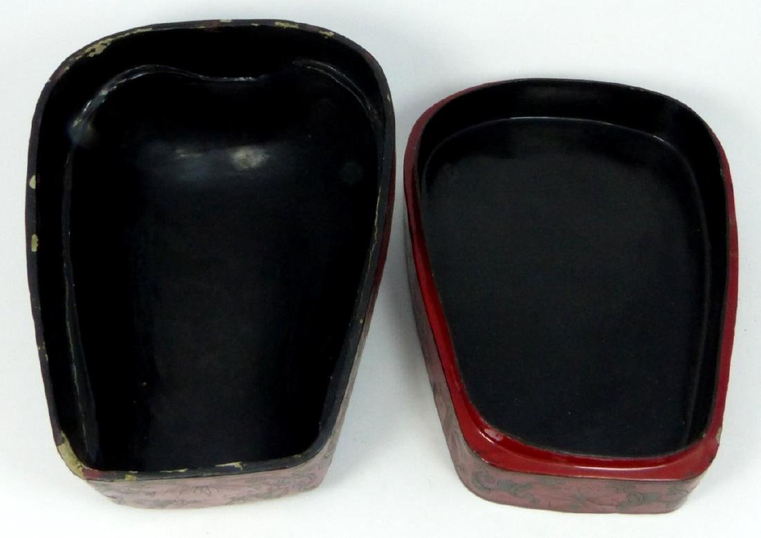 CHINESE RED LACQUER STACKING BOX w PORCELAIN PANEL - 5