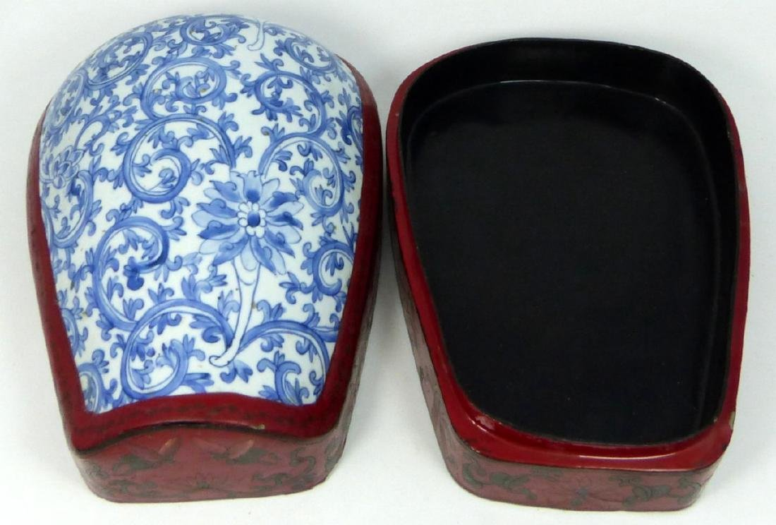 CHINESE RED LACQUER STACKING BOX w PORCELAIN PANEL - 6