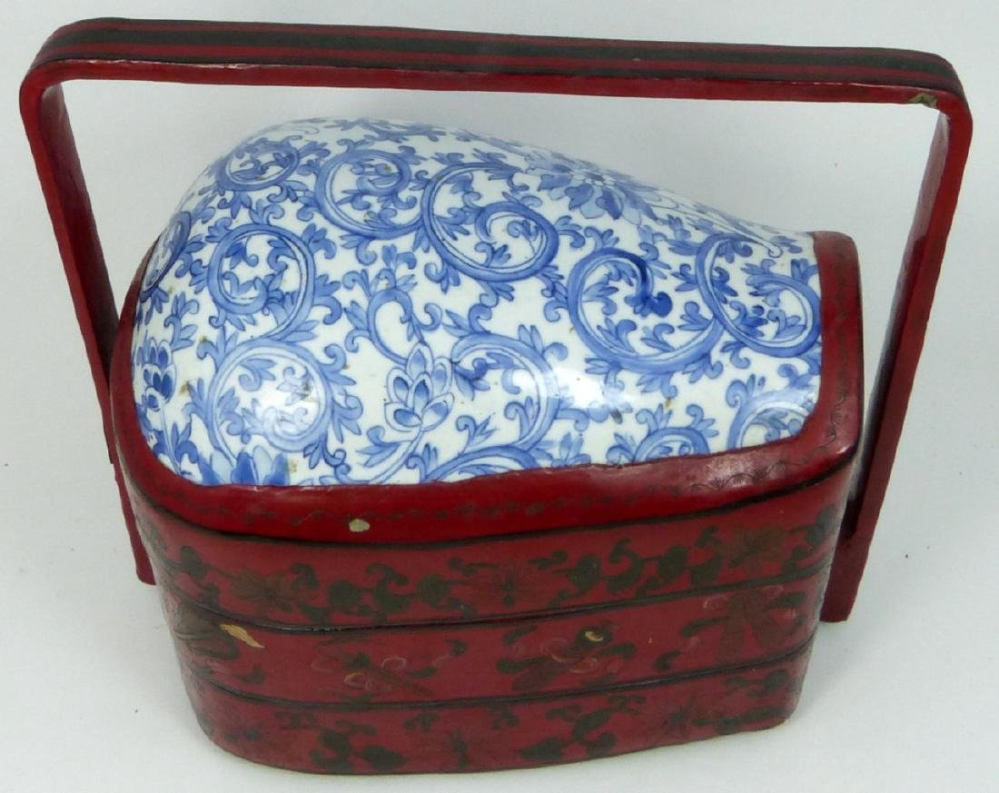 CHINESE RED LACQUER STACKING BOX w PORCELAIN PANEL - 9