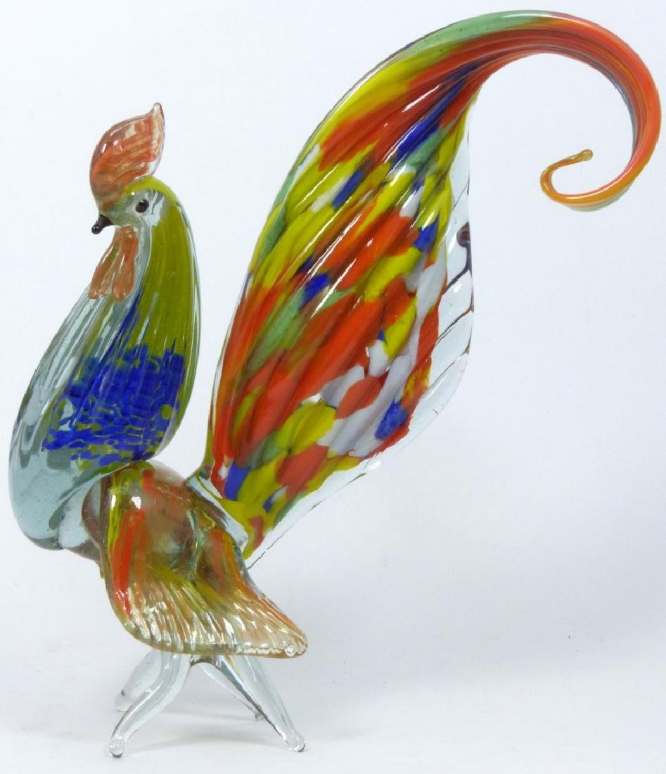 PR LARGE MURANO ART GLASS ROOSTERS - 3