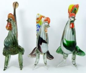 3pc LARGE MURANO ART GLASS ROOSTERS