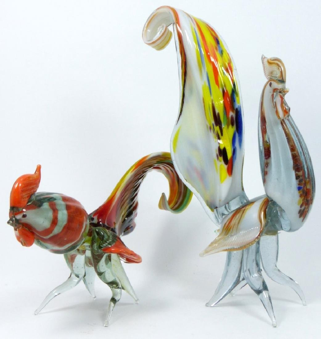 PR LARGE MURANO ART GLASS ROOSTERS