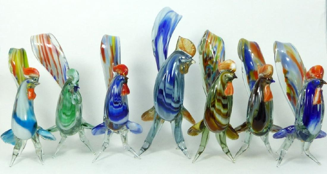 7pc MURANO ART GLASS ROOSTERS