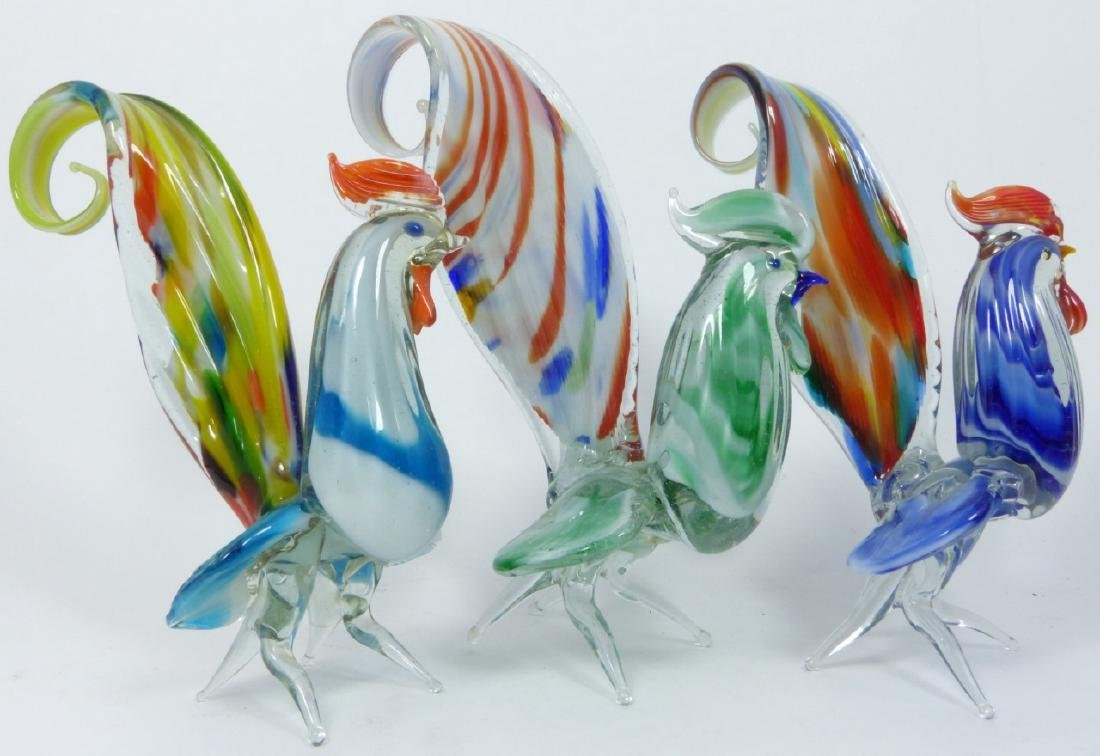 7pc MURANO ART GLASS ROOSTERS - 3
