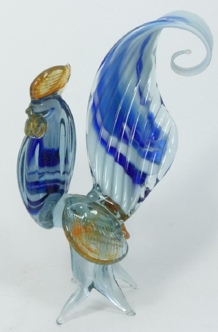 7pc MURANO ART GLASS ROOSTERS - 5